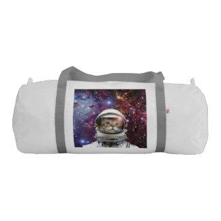 Cat astronaut - crazy cat - cat gym duffel bag
