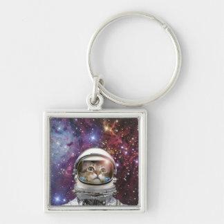 Cat astronaut - crazy cat - cat key ring