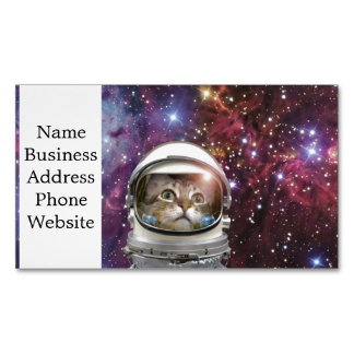 Cat astronaut - crazy cat - cat Magnetic business card