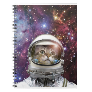 Cat astronaut - crazy cat - cat spiral notebook