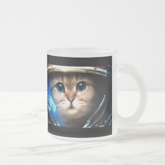 Cat astronaut frosted glass mug