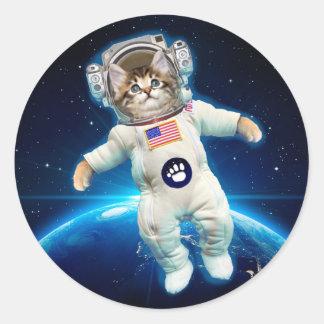 Cat astronaut - space cat - Cat lover Classic Round Sticker