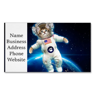 Cat astronaut - space cat - Cat lover Magnetic Business Card