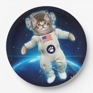 Cat astronaut - space cat - Cat lover Paper Plate