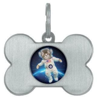 Cat astronaut - space cat - Cat lover Pet ID Tag