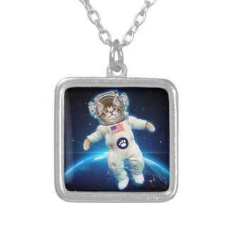 Cat astronaut - space cat - Cat lover Silver Plated Necklace