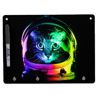 Cat astronaut - space cat - funny cats dry erase board with key ring holder