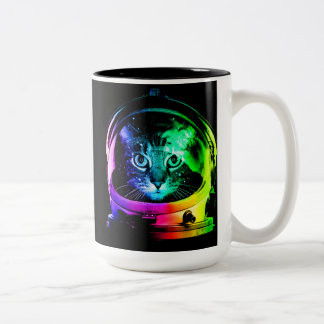 Cat astronaut - space cat - funny cats Two-Tone coffee mug