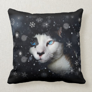 Cat At Night With Snowflakes Pillow