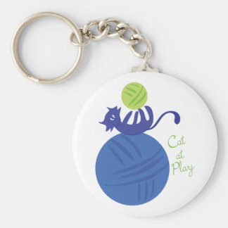 Cat At Play Keychain