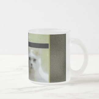 Cat at Window Frosted Glass Mug