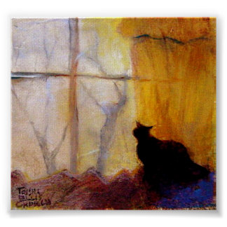 Cat at Window with Yellow Curtains Poster