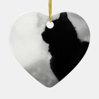 Cat ate Night Feline Animal cap Cat Puss Pussy Ceramic Heart Decoration