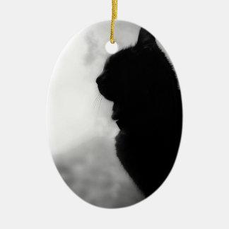 Cat ate Night Feline Animal cap Cat Puss Pussy Ceramic Oval Decoration