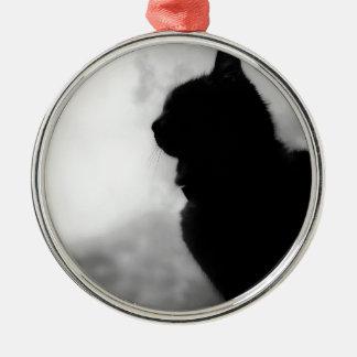 Cat ate Night Feline Animal cap Cat Puss Pussy Silver-Colored Round Decoration