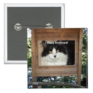 Cat Attitude 15 Cm Square Badge