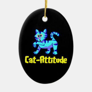 Cat-Attitude Ceramic Oval Decoration