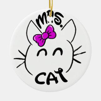 Cat baby round ceramic decoration