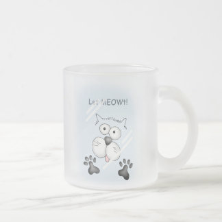 Cat behind glass! frosted glass coffee mug