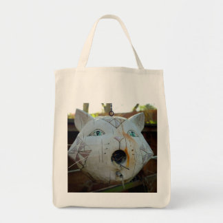 Cat bird house tote bag