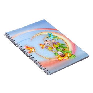 Cat & Birds Pixel Art Spiral Notebook
