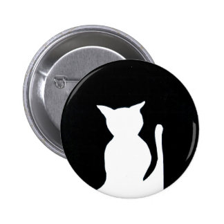 Cat - Black and White Cat Silhouette Art Decor Pinback Buttons