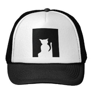 Cat - Black and White Cat Silhouette Art Decor Cap