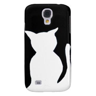 Cat - Black and White Cat Silhouette Art Decor Galaxy S4 Case