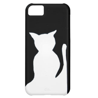 Cat - Black and White Cat Silhouette Art Decor Cover For iPhone 5C