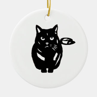 Cat black cat cat BLACK CAT cutting picture Round Ceramic Decoration