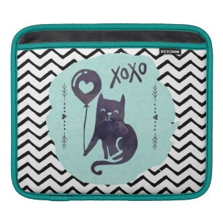 Cat Black & White Chevron Zigzag Stripe Cute Kitty iPad Sleeves