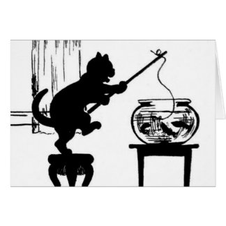Cat Black/White Silhouette Fishing in Fish Bowl Card