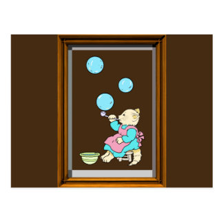 Cat Blowing Bubbles From Tube - Cartoons Postcard