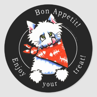 Cat Bon Appetit! Pet Gourmet Treats Black Classic Round Sticker