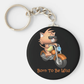 Cat - Born To Be Wild Basic Round Button Key Ring
