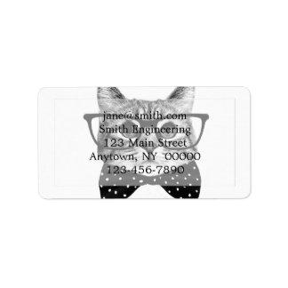 cat bow tie - Glasses cat - glass cat Address Label