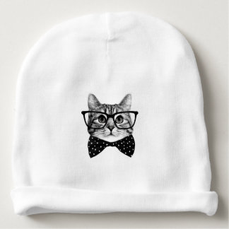 cat bow tie - Glasses cat - glass cat Baby Beanie