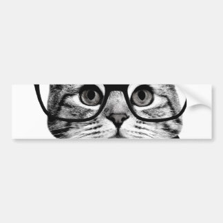 cat bow tie - Glasses cat - glass cat Bumper Sticker