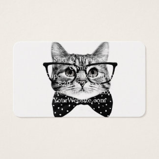cat bow tie - Glasses cat - glass cat Business Card