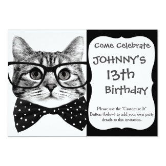 cat bow tie - Glasses cat - glass cat Card