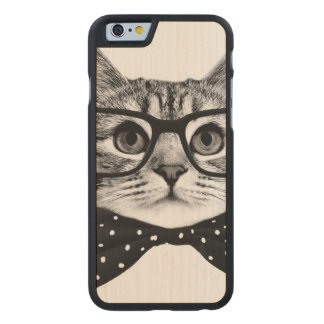 cat bow tie - Glasses cat - glass cat Carved Maple iPhone 6 Case