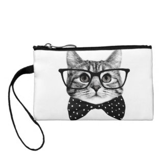 cat bow tie - Glasses cat - glass cat Coin Purse
