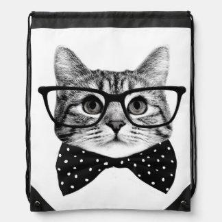 cat bow tie - Glasses cat - glass cat Drawstring Bag