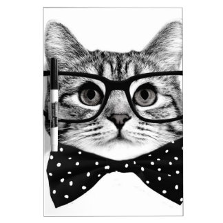 cat bow tie - Glasses cat - glass cat Dry Erase Board