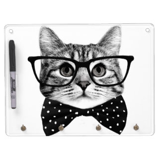cat bow tie - Glasses cat - glass cat Dry Erase Board With Key Ring Holder