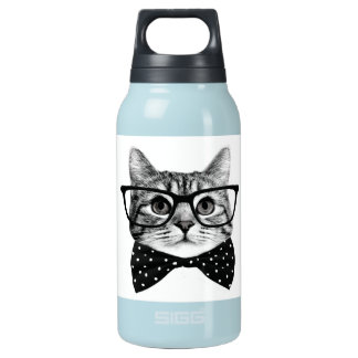cat bow tie - Glasses cat - glass cat Insulated Water Bottle