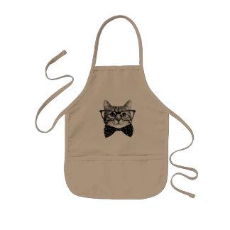 cat bow tie - Glasses cat - glass cat Kids Apron
