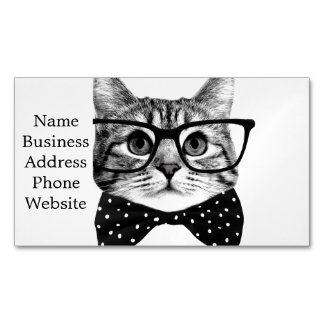 cat bow tie - Glasses cat - glass cat Magnetic Business Card