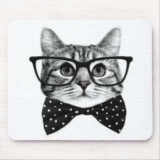 cat bow tie - Glasses cat - glass cat Mouse Pad