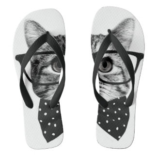 cat bow tie - Glasses cat - glass cat Thongs